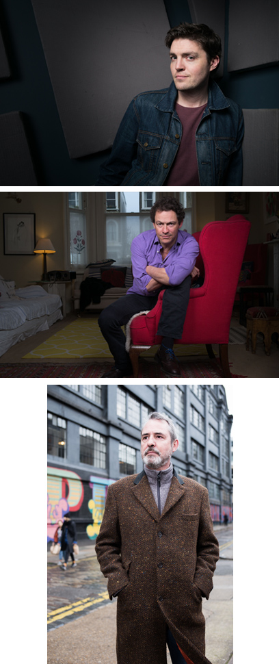 Portraits of Neil Morrissey, Tom Burke and Dominic West